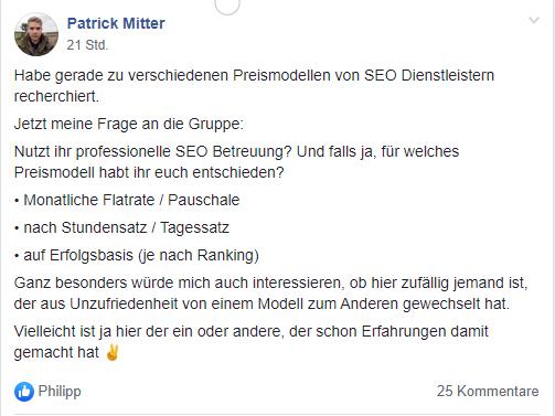 Facbook Post zu Preismodellen von SEO.