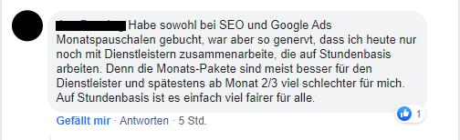 Ein Nutzer berichtet über seine Erfahrungen mit SEO Preismodellen.