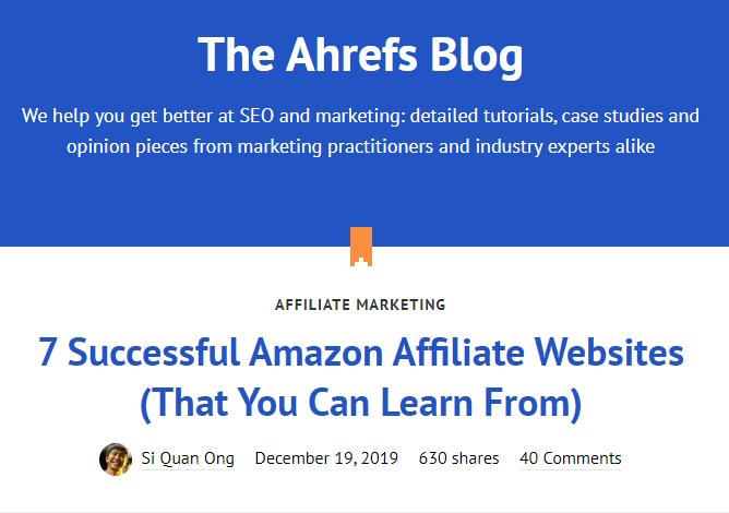 Beispiel Ahrefs Blog für SEO in Software