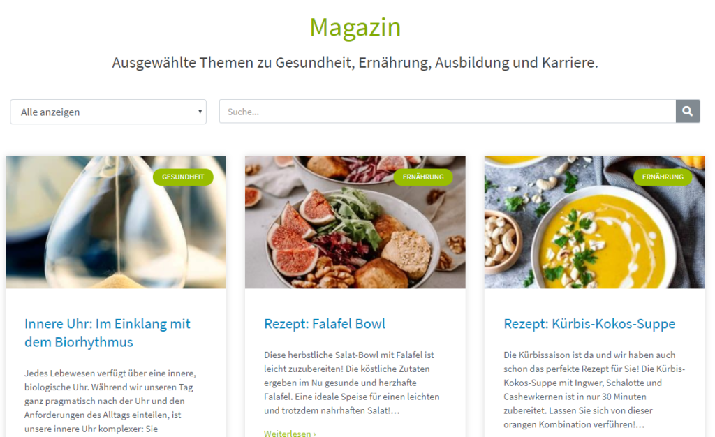 Akademie der Naturheilkunde nutzt Magazin für SEO