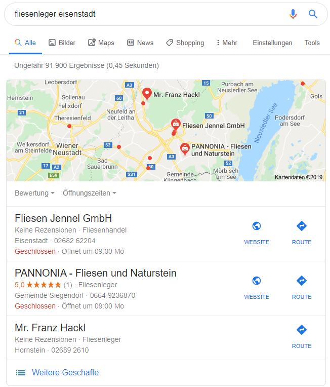 """Lokale Ergebnisse für den Suchbegriff """"fliesenleger eisenstadt""""."""
