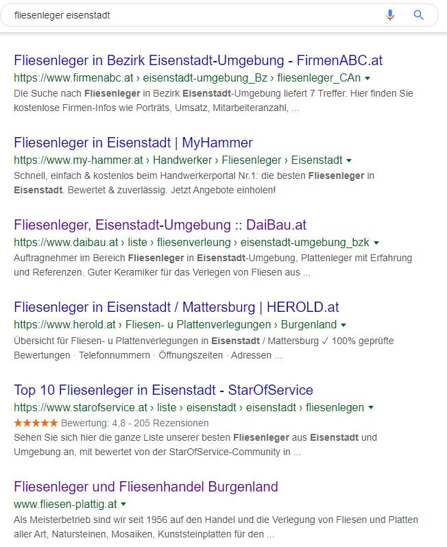 """Ergebnisse für den Suchbegriff """"fliesenleger eisenstadt""""."""