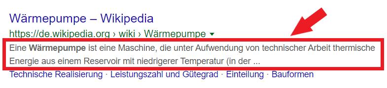 meta beschreibung bei google