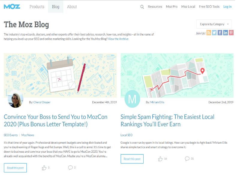 Mit dem Moz Blog kannst du SEO Probleme vermeiden.