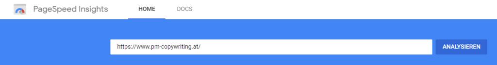 Die PageSpeed Insights von Google zeigen die Ladezeiten für Mobilgeräte.