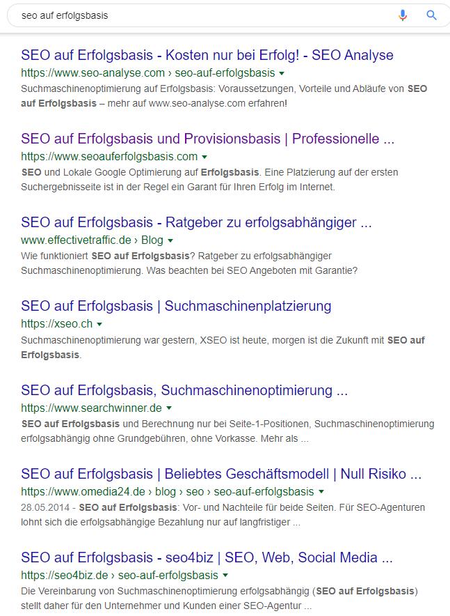 SEO Preismodell auf Erfolgsbasis Suchergebnisse.