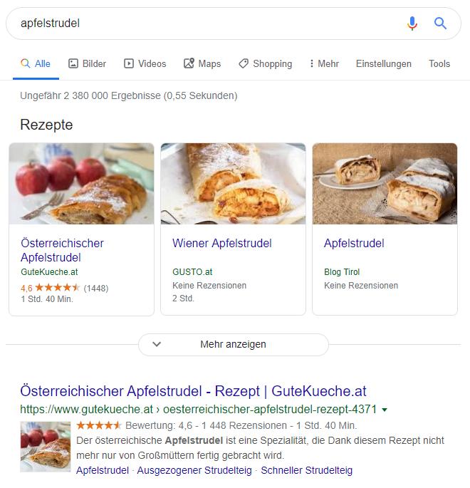 """Suchergebnisse für den Begriff """"apfelstrudel""""."""