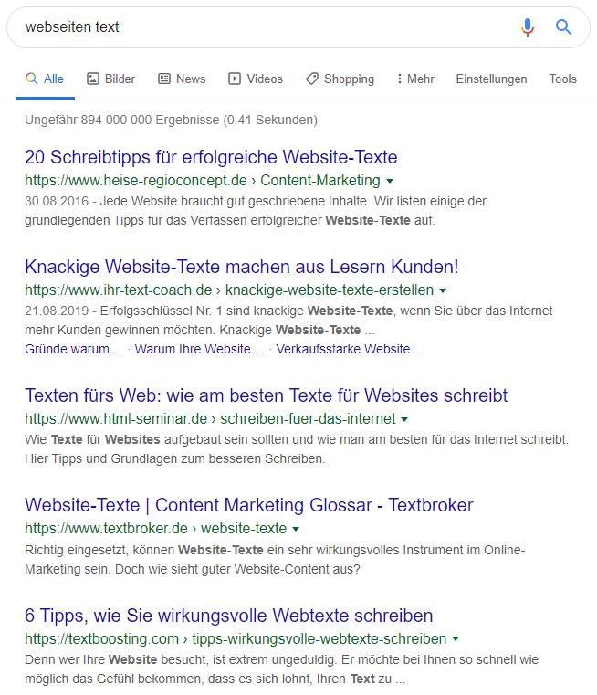 """Suchergebnisse für den Begriff """"webseiten text""""."""