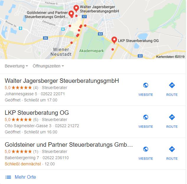 Lokale Suchergebnisse für den Begriff Steuerberater Wiener Neustadt.