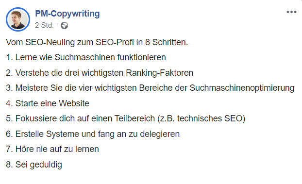 Facebook Post als Marketingmaßnahme