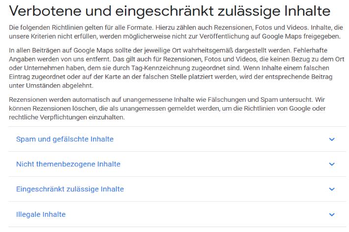 Google Richtlinien sind bei Bewertungen zu beachten