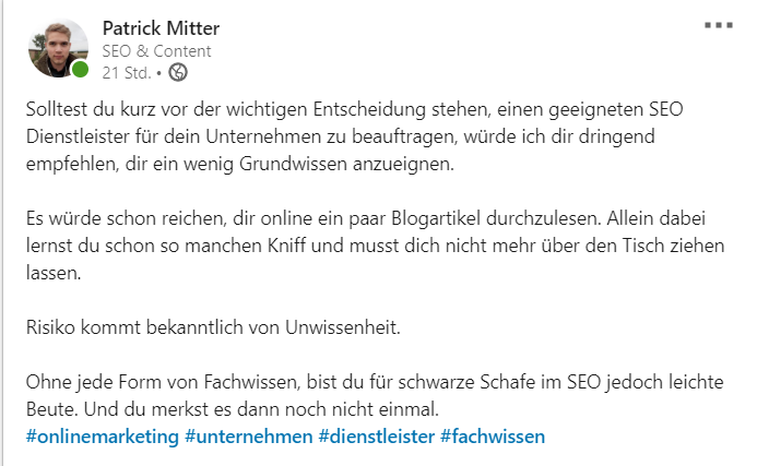 Marketingmaßnahme Linkedin Post Beispiel