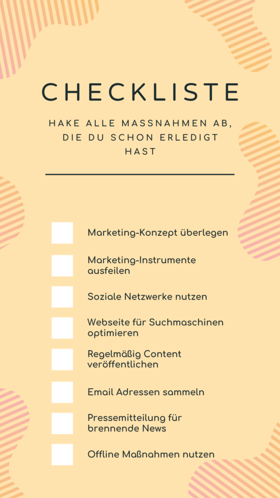 Marketingmaßnahmen Checkliste