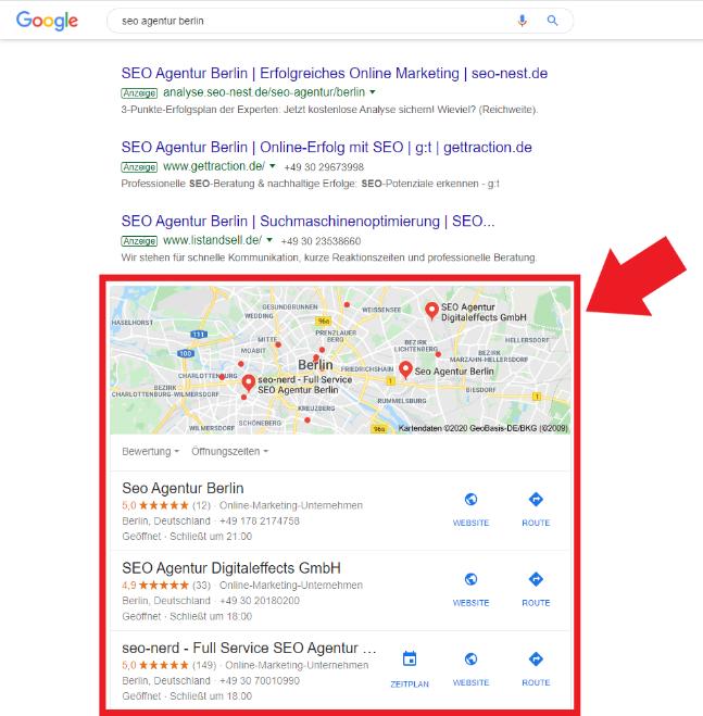 Beispiel für Local Snack Pack bei Google