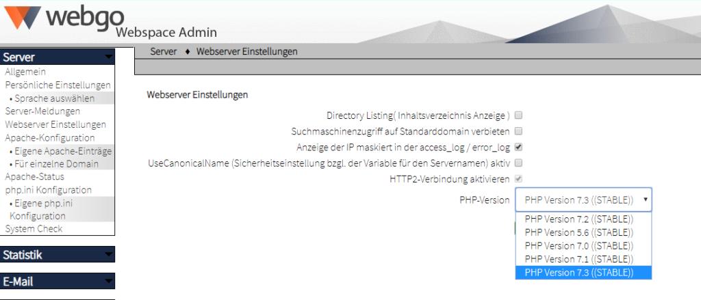 php version ändern webgo