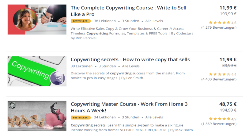 udemy copywriting kurse