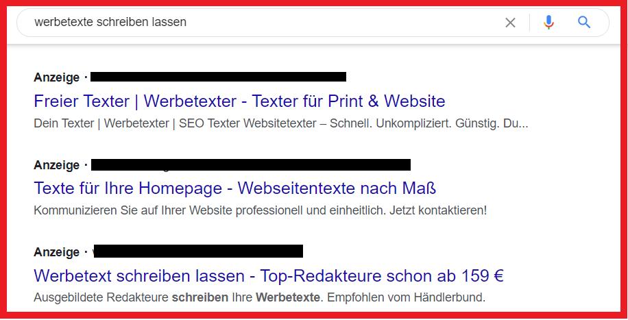 Werbetexte schreiben lassen über Google Suche.